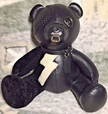 "COACH F55359 OUTLAW BLACK PEBBLED Leather 15"" BEAR  RARE COLLECTIBLE LTD EDITION"