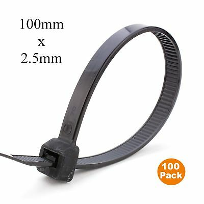 100 x Black Nylon Cable Ties 100 x 2.5mm / Extra Strong Zip Tie Wraps