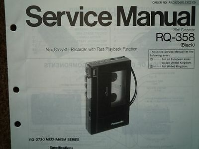 PANASONIC RQ-358 Cassette tape Recorder Service manual wiring parts diagram