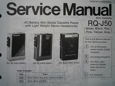 PANASONIC RQ-J50 Stereo Cassette tape Player Service manual wiring parts diagram
