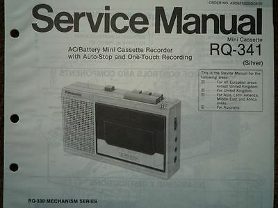 PANASONIC RQ-341 Cassette tape Recorder Service manual wiring parts diagram
