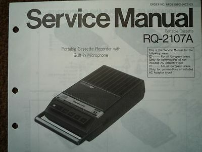 PANASONIC RQ-2107A Cassette tape Recorder Service manual wiring parts diagram