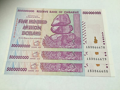 3 x Zimbabwe 500 MILLION Dollar Notes AB/2008 Consecutive Numbers UNC *BARGAIN*