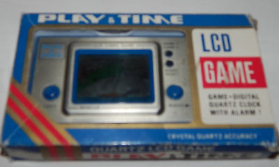 *vintage Lcd Arcade Rescue Play & Time Handheld Game & Clock/watch In Box/boxed*