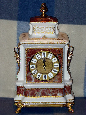 Large Signed Italian Ceramic Quartz Mantle Clock With Gilded Swan Finials Gwo