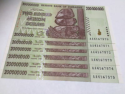 6 x Zimbabwe 200 MILLION Dollar Notes AA/2008 Consecutive Numbers UNC *BARGAIN*