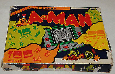Rare Vintage A-Man Lcd Electronic Conic Handheld Game & Clock/watch In Box/boxed