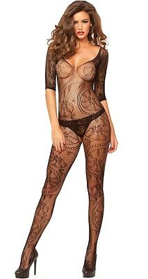 Plus Size Sexy Black Fishnet Lace Bodystocking Size 16-20 Seven Til Midnight