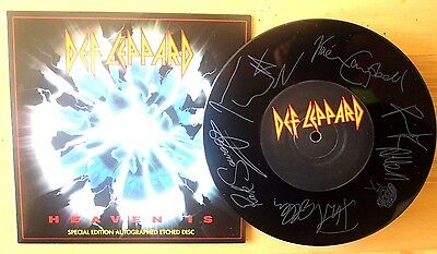 "Ex/ex Def Leppard Heaven Is 7"" Etched Vinyl 45 Picture Disc"