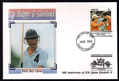 Nevis 1993 40th Anniversary of QEII Coronation on illustrated FDC - Charles