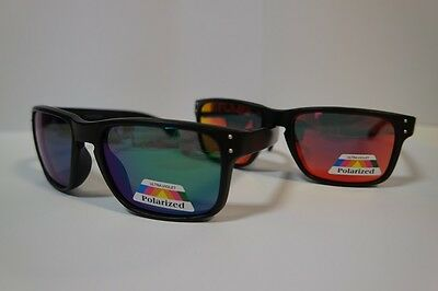 2x Pairs - 1x Red & 1x Green Polarized Revo Lens Holbrook Keyhole Sunglasses