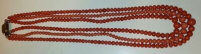 66 gr. natural undyed red coral 3 strand necklace Round Beads ca. 1840 TOP RARE