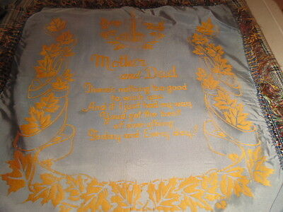 """Antique Cushion Cover,1940's """"mother And Dad"""""""