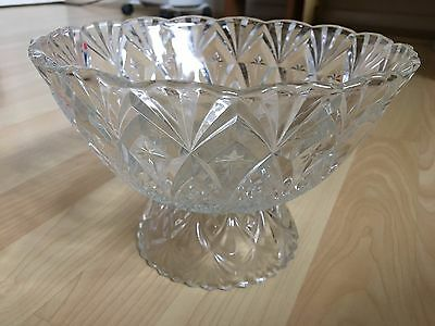 Vintage/ Clear Pressed Glass /Tall Pedestal Fruit/Trifle Bowl/Large/Christmas