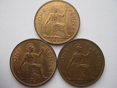 1950 1951 & 1953 George VI & QE2 rare bronze penny coins, most with lustre