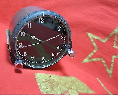 USSR MILITARY AIRCRAFT CLOCK COCKPIT PANEL 124 ChS #30228 Soviet Russia