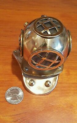 "Vintage Miniature Brass & Glass Deep See Diving Helmet Replica 4"" Tall"