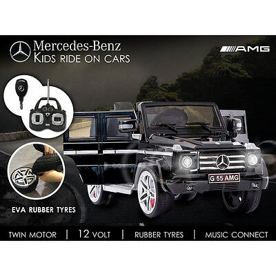 Licensed Mercedes G55 12v Electric Ride on Jeep with Remote - Black - Open Doors