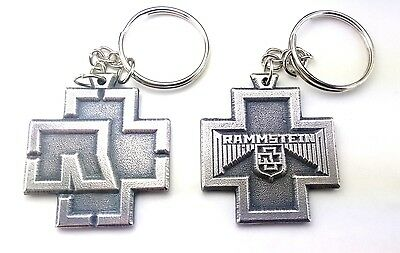 Rammstein Keychain Keyring Key Rare doble sided Pendant Pewter Silver 015