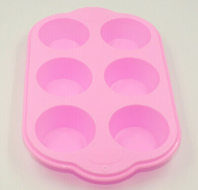 6 Cup Large Silicone Bun/Muffin Tray Non Stick Tin Tray Baking Pudding Mold Pink