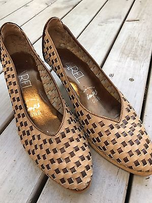 Kitsch 80's Woven Leather Shoes.  Size 6.5.  Carel, Imps