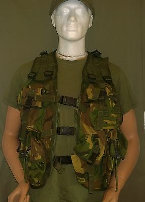 British Army Webbing Vest/ Waistcoat Man's With Pouches Green Camo