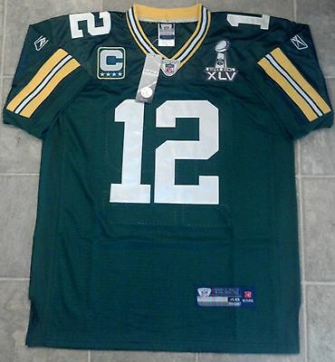 Aaron Rodgers Green Bay Packers Super Bowl XLV On Field Jersey SIZE 48 M NWT