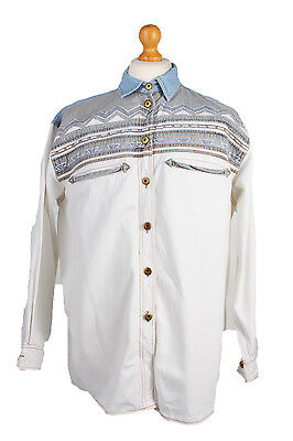 "Arizona Vintage Long Sleeve Shirt Whiet/Design Chest Size 50"" - SH190"