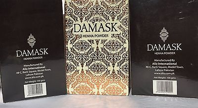 DAMASK Herbal Henna Powder (Mehndi) for Body Art and Hair Colour 3pkts X 100gm