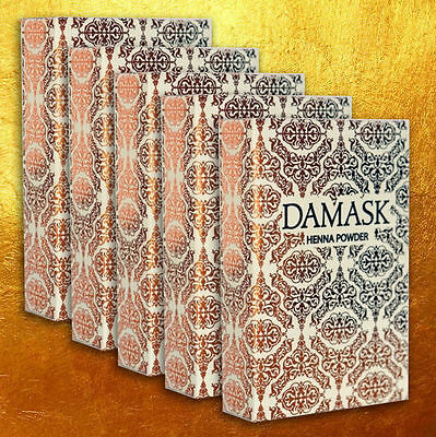 DAMASK Herbal Henna Powder - Mehndi - Body Art and Hair Colour 5 x 100gm PACKETS