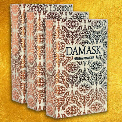 DAMASK Herbal Henna Powder - Mehndi - Body Art and Hair Colour 3 x 100gm PACKETS