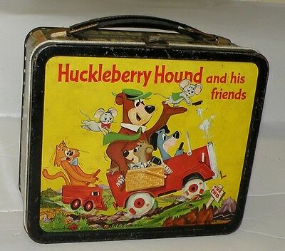 Vint Aladdin 1961 HUCKLEBERRY HOUND And His Friends Lunchbox W QUICK DRAW McGRAW