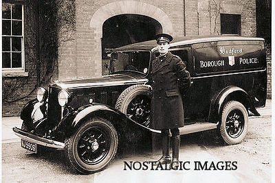 OLD PHOTO TAKEN FROM a 1930'S  IMAGE OF POLICE BLACK MARIA VAN
