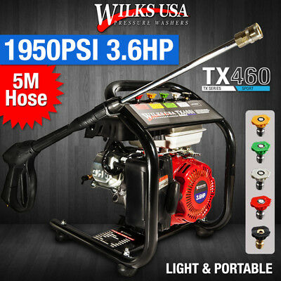 Petrol Pressure Washer Jet - 3.6HP 1950psi AWESOME POWER TX460 GENUINE WILKS USA
