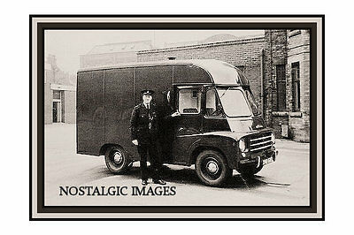 OLD PHOTO TAKEN FROM a 1950'S  IMAGE OF POLICE BLACK MARIA VAN