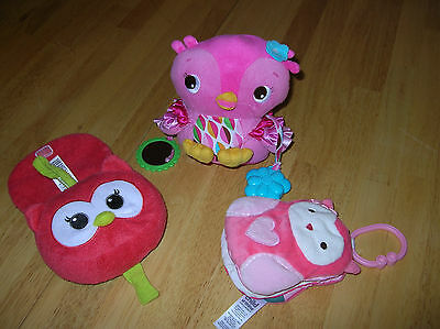 Owl Baby girl toy lot soft cloth book hanging toy car seat rattle crinkle