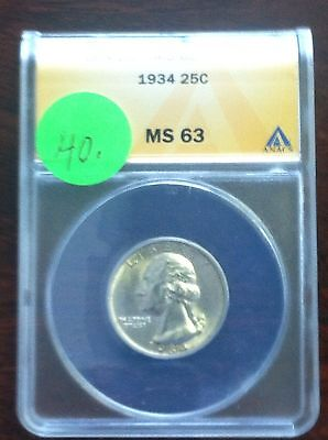 1934 Washington Quarter ANACS MS 63