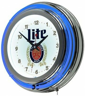 "Miller Lite Wall Clock Neon Lighted 14.5"" Retro Sign Logo Game Room Home Decor"