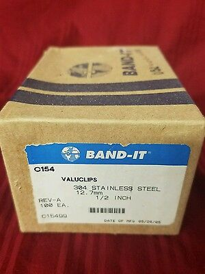 "THE BAND-IT Banding Fastener 304 Stainless Steel Clips 1/2"" 12.7mm 100 ea."