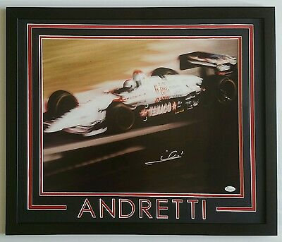 Mario Andretti Signed Autographed 16x20 Framed 20x24 JSA
