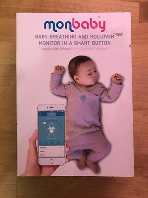 monbaby baby breathing and rollover monitor in a smart button WHITE NEW box damg