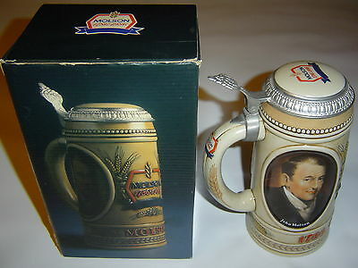 Molson 1986 Lidded Beer Stein Commemorating 200th Anniversary With Original Box