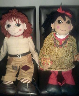 RARE PAIR LARGE GIANT 30'' ROSIE and JIM NARROW BOAT CANAL DOLLS UNIQUE 90s tv