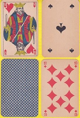 3237x. Mesmaekers Standing Courts Original Old Playing Cards 1880 Red