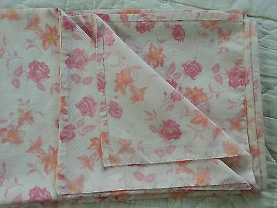 Vintage retro pretty pink and orange floral double flat sheet C5
