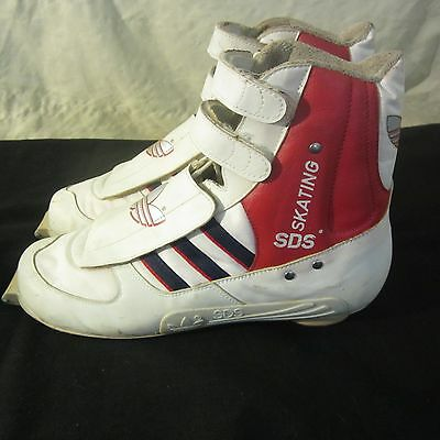 Vintage ADIDAS Cross Country SKI BOOTS Skating MEN'S 8.5 Velcro Zip RARE