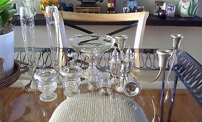 Lot STERLING SILVER Candleabra, Compote, S&P Vases, Toothpick/Cigarette/Match