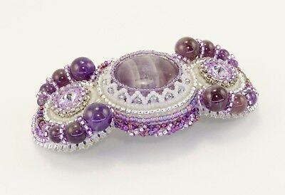 Bead Embroidery Hair Barrette with variscite and nacre