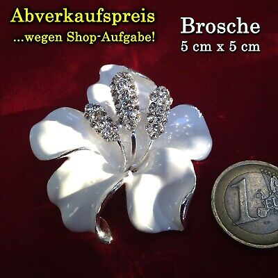 Weiße Orchidee Brosche Strass Pullover Rock Hose Jeans Buttons Pin Kleid Jacke