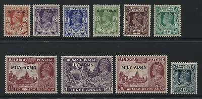 Burma: 1945 Military Administration part-set of 10 to 4 annas SG35-45 MM - AF185